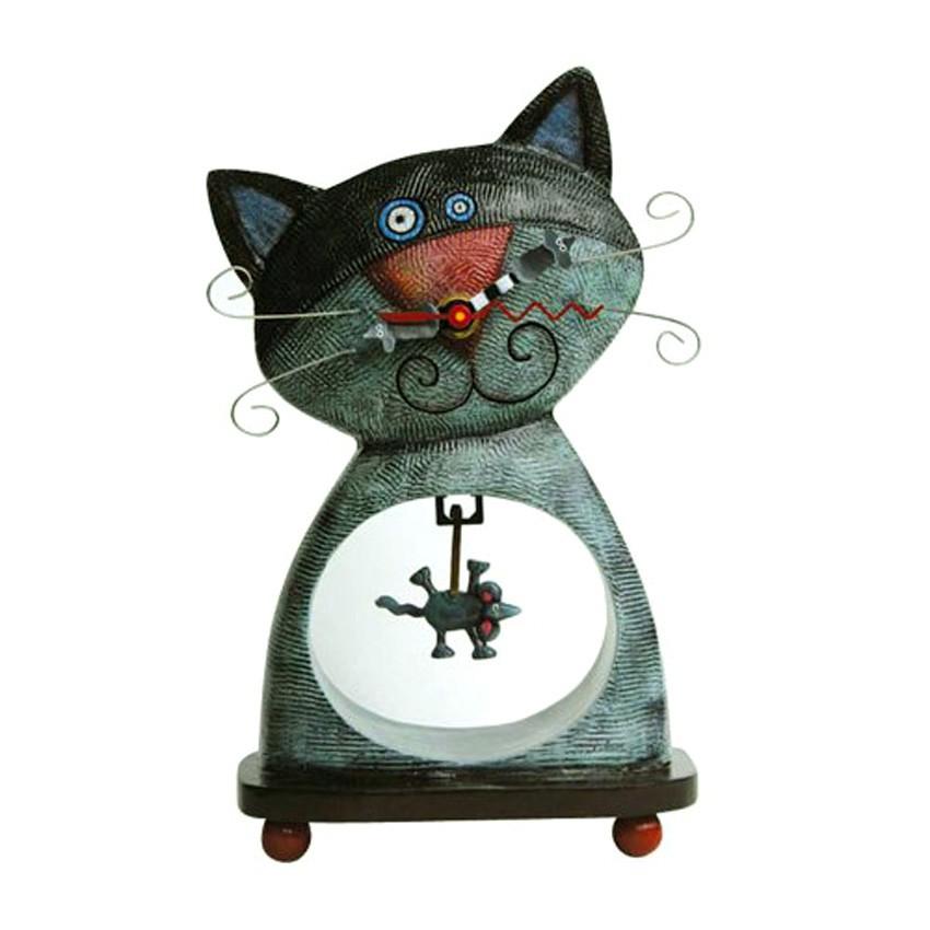 Uhr tischuhr standuhr mit pendel katze und maus von for Design tischuhr