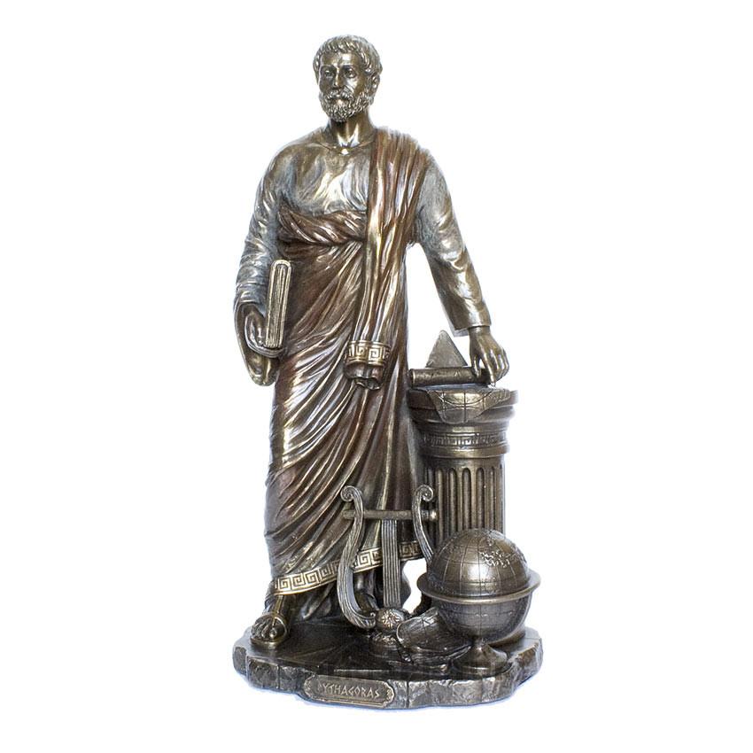 Figur Pythagoras Griech Philosoph Bronzeoptik
