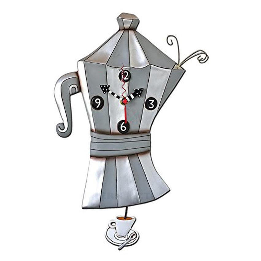 wanduhr pendeluhr k chenuhr kanne espresso kaffee brew pot coffee clock von michelle allen designs. Black Bedroom Furniture Sets. Home Design Ideas