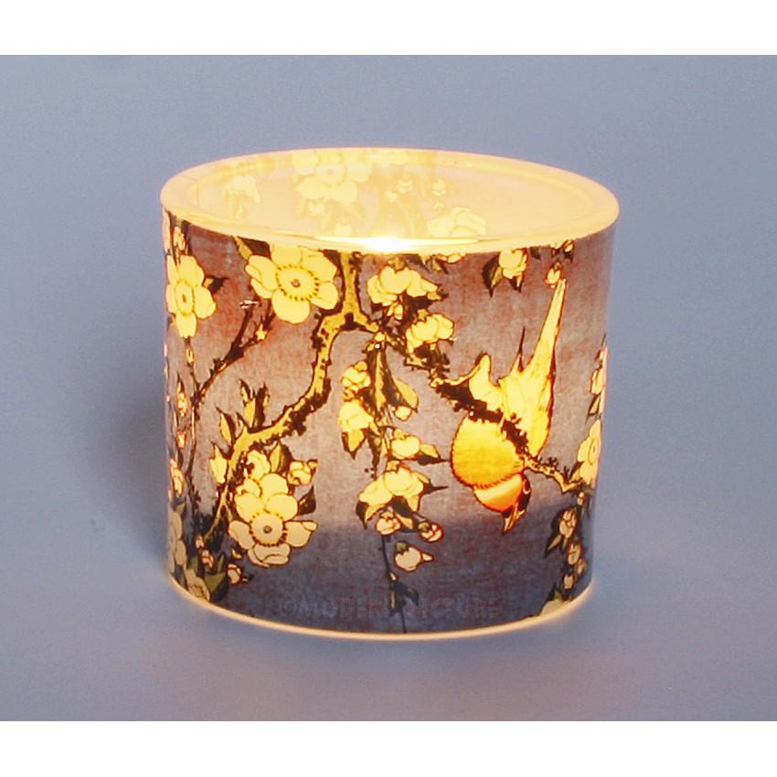 teelicht teelichthalter hokusai vogel und kirchbl ten aus glas. Black Bedroom Furniture Sets. Home Design Ideas