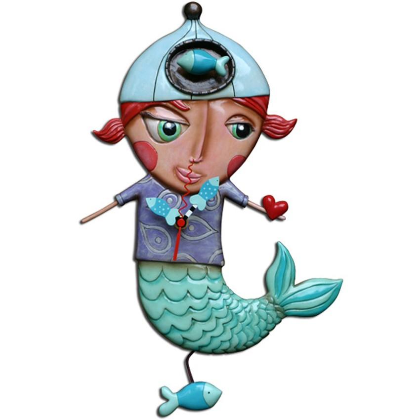 Wanduhr pendeluhr meerjungfrau kinderzimmer mermaid clock for Wanduhr kinderzimmer