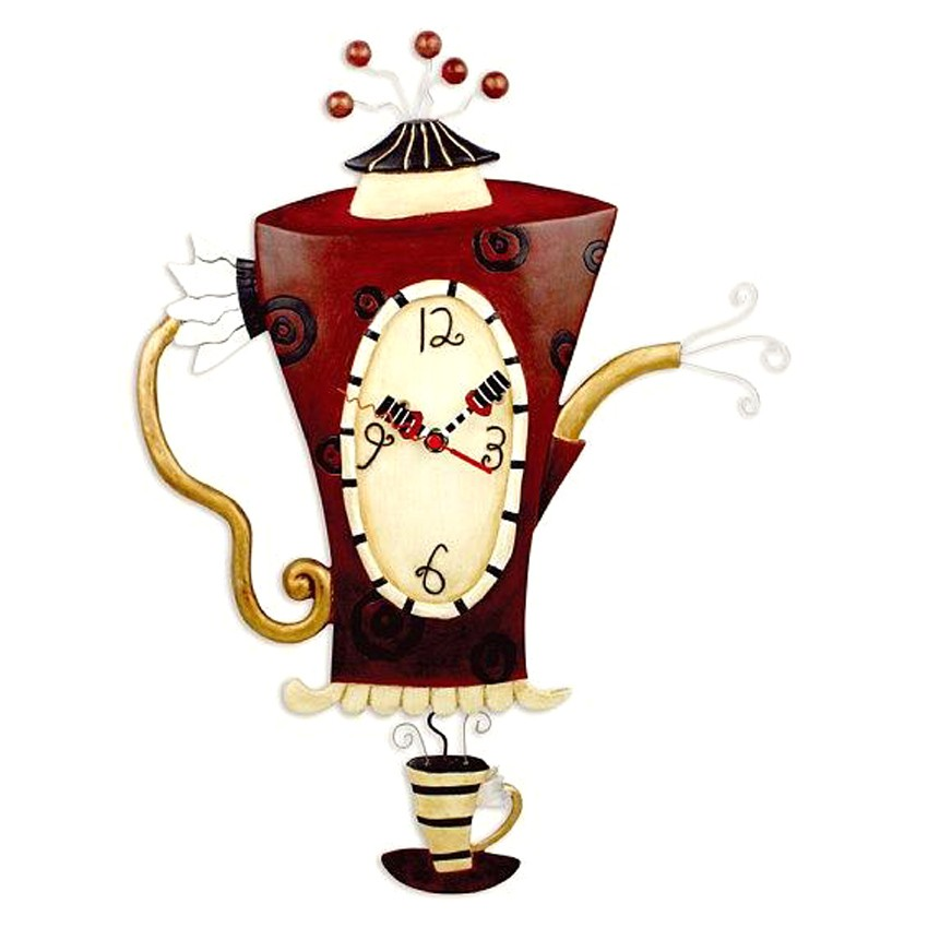 Wanduhr Teekanne Kaffeekanne Küchenuhr Steamin\' Tea Clock