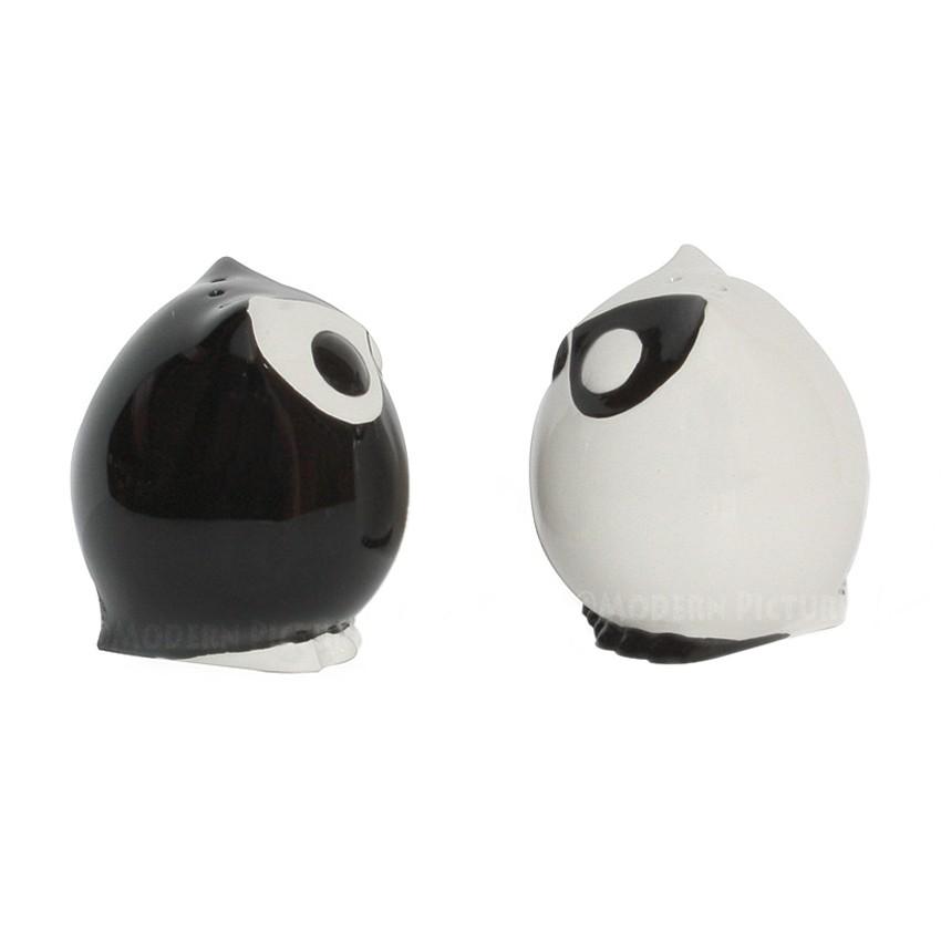 salzstreuer pfefferstreuer eulen paar schwarz weiss. Black Bedroom Furniture Sets. Home Design Ideas