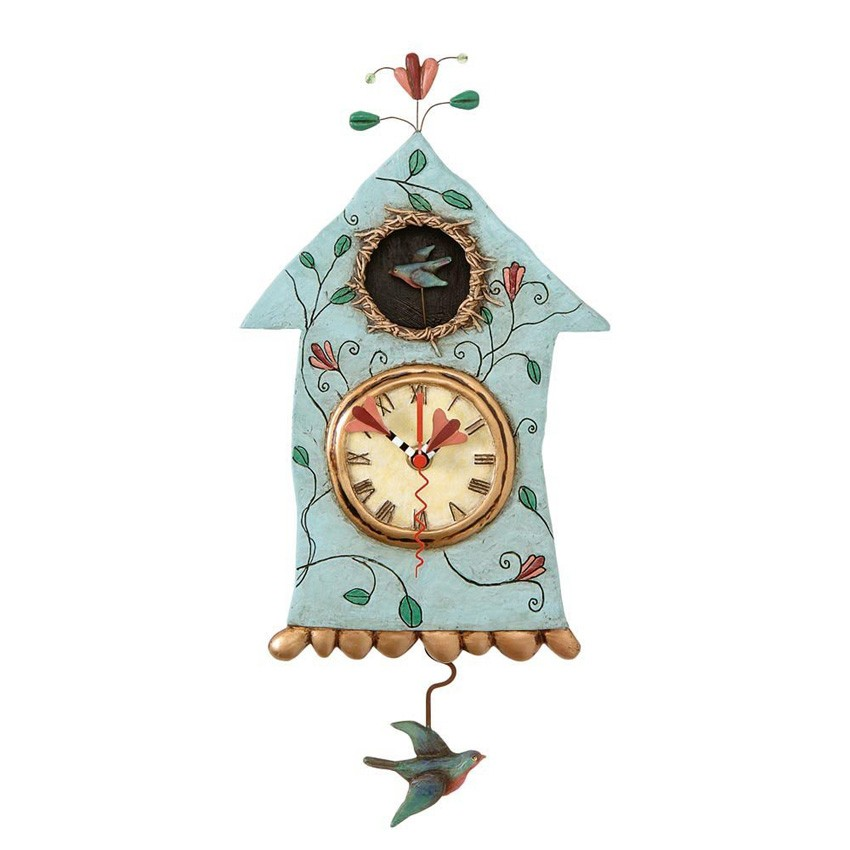 wanduhr vogelhaus mit pendel fly bird clock michelle allen. Black Bedroom Furniture Sets. Home Design Ideas