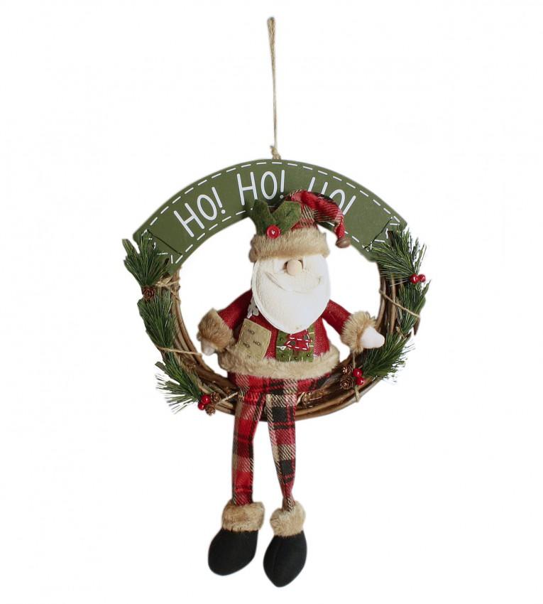 weihnachtlicher kranz t rkranz zum h ngen mit weihnachtsmann. Black Bedroom Furniture Sets. Home Design Ideas